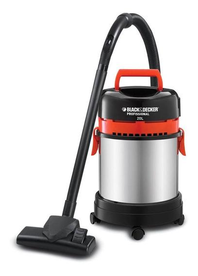 Aspirador Black+Decker AP4850 20L aço inoxidável, preto e vermelho 220V