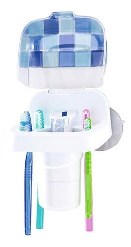 Porta Cepillos Pared Con Tapa Dentales Baño Ducha