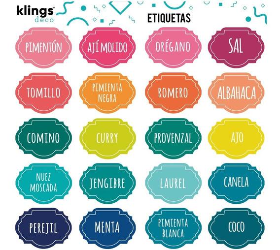 Etiquetas Condimentos Frasco Especias Especieros Color