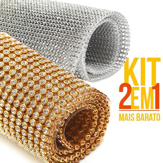 Kit 2 Manta De Strass 7 Cm X 45 Cristal 100 % Original