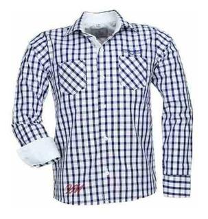 Camisa Infantil Alfa 404 Xadrez Algodão Bordado Peito Luxo