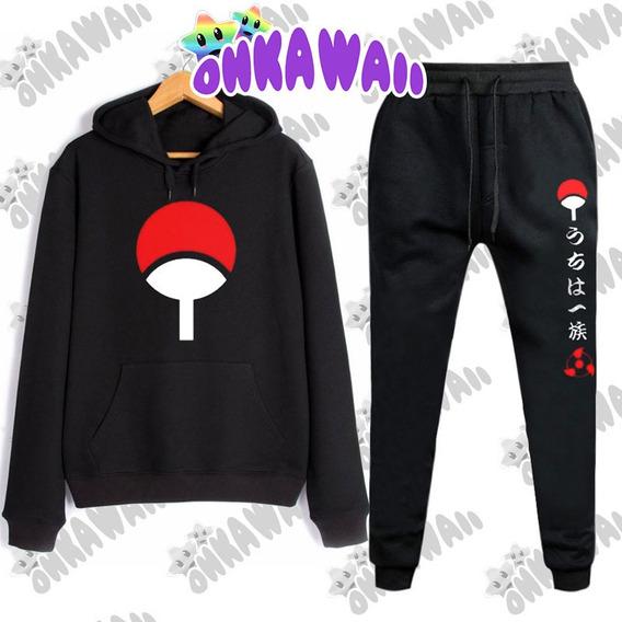 Naruto Combo - Buzo Canguro + Jogging Pantalón Uchiha Clan