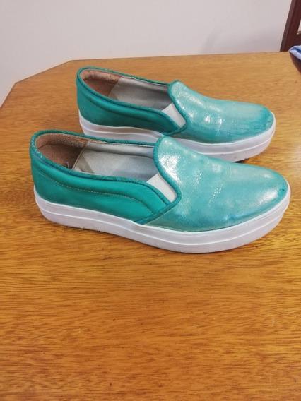 Zapatillas Pancha Verde Cuero Usada
