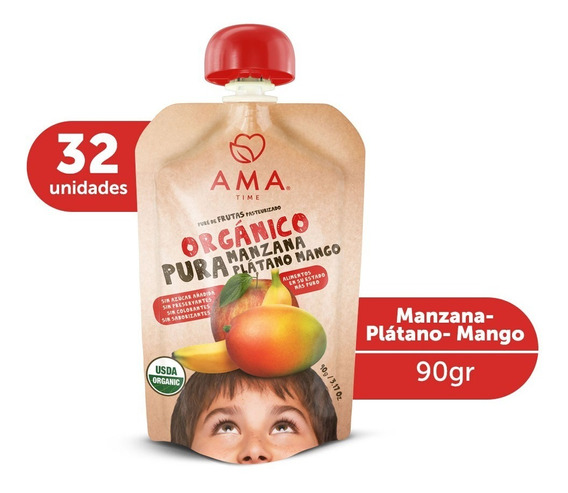 Ama Puré Manzana Plátano Mango Orgánico 32x90gr