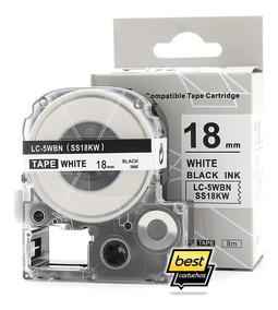 Fita Compatível 18mm Branca Rotulador Epson Lw 400 Lw 600p