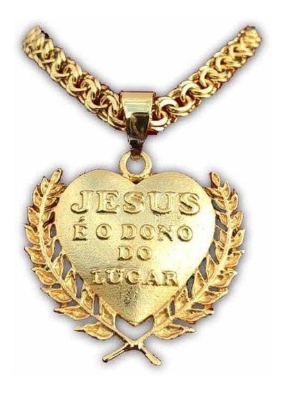 Cordão Jesus E O Dono Do Lugar Banhado A Ouro Me De Luxo