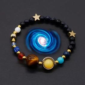 Pulseira Sistema Solar 8 Planetas Galaxia Chakra Obsidiana
