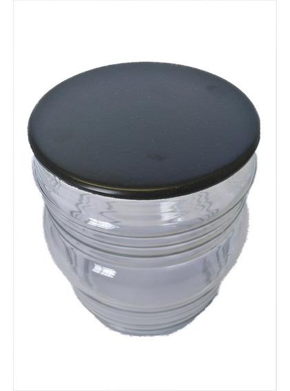 Vidro Balizador Timoneiro Transparente Tampa Alumínio Preto