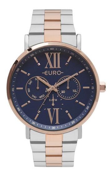 Relógio Euro Feminino Bicolor Analógico Multifunção Casual