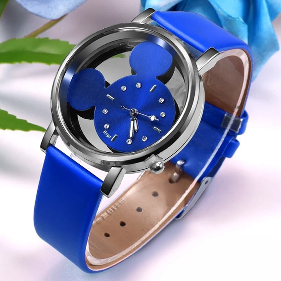 Relógio Feminino Mickey Azul Brinde Caixa De Acrílico