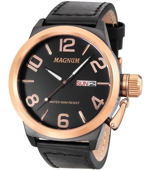 Relógio Masculino Magnum Analógico Ma33399u Preto Em Couro