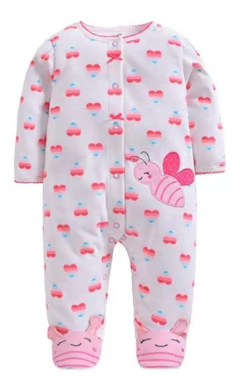 Macacão Bebê Fleece Soft Com Pé Abelhinha