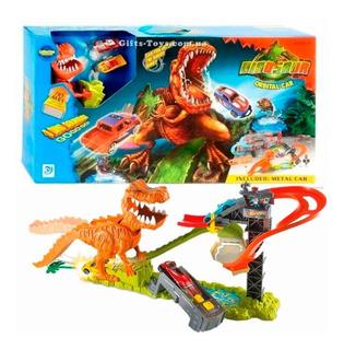 Pista De Carros Hot Dinosaurio T Rex Con Parqueadero 2carros