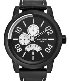 Relógio Mormaii Masculino Preto Couro Legítimo Mojr10aa/2p
