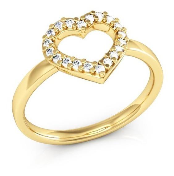 Anel De Ouro Coração Cravejado
