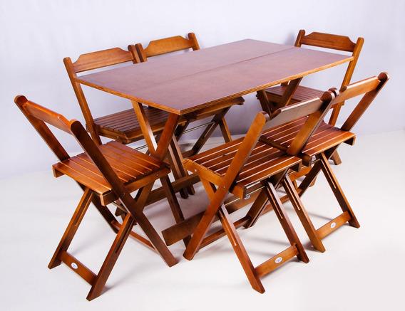 Jogo De Mesa 120x70 C/6 Cadeiras Madeira Bar Dobrável