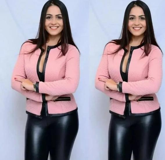 Jaquetinha Feminina Jacquard Casaco Inverno Frio Metalassê
