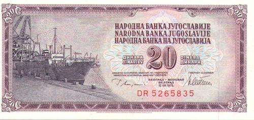 Imagen 1 de 2 de Yugoslavia 20 Dinara 1978 Papel Moneda Unc