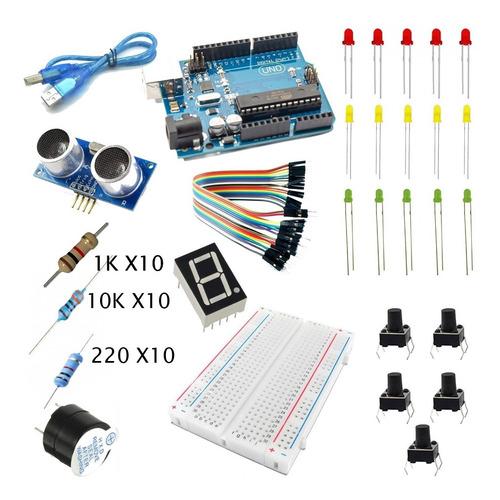 Imagen 1 de 2 de Kit Arduino Uno R3 Sensor Ultrasonico Display Proto Y Mas