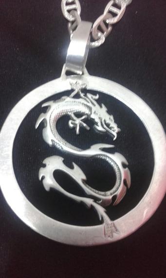 Cordão De Prata Tampa De Latinha Com Pingente Do Dragão