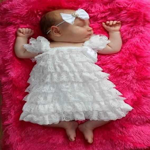Vestido Forrado C/ Renda De Bico P/bebé Pronta Entrega Ars