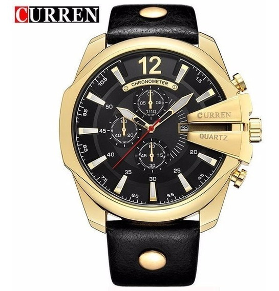 Relógio Curren Masculino 8176 Pulseira De Couro Original.