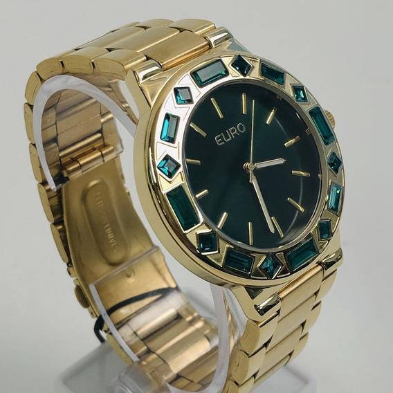 Relógio Euro Analógico Pedraria Verde Feminino