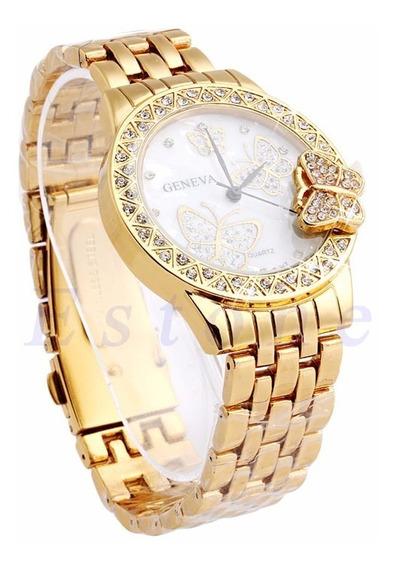Relógio Feminino De Pulso Ouro Dourado Frete Grátis
