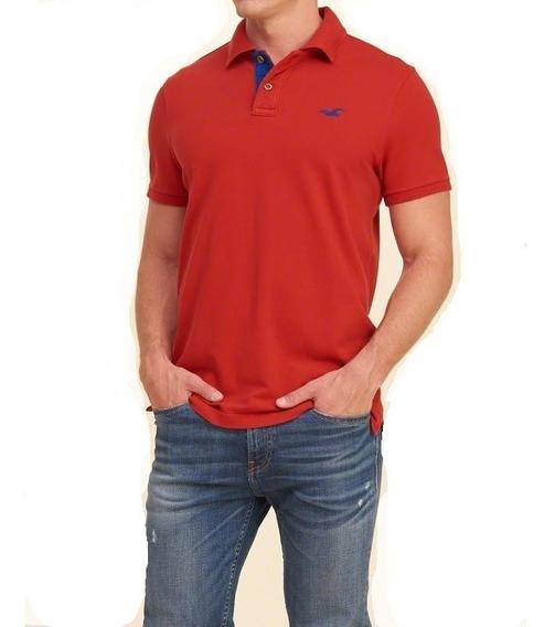Hollister Caballero Polo Stretch Pique Rojo Importada