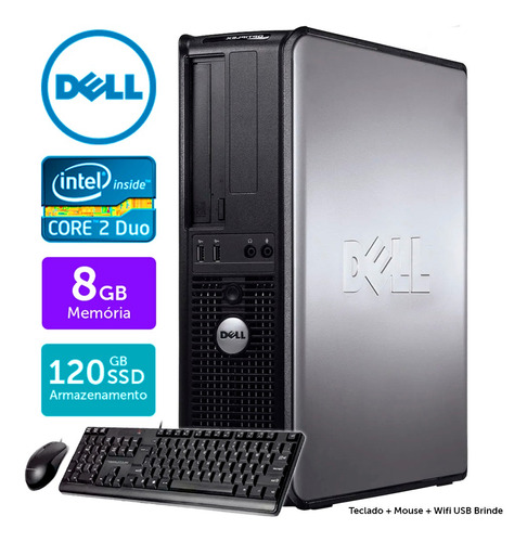 Imagem 1 de 5 de Computador Completo Dell Int C2duo 8gb Ssd120 Brinde