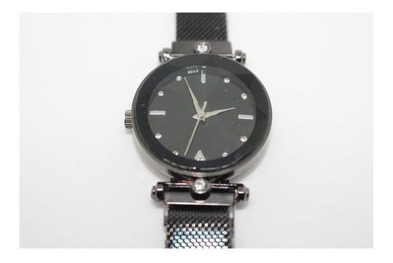 Relógio Feminino Masculino Aço Inox Pulseira Magnética Preto