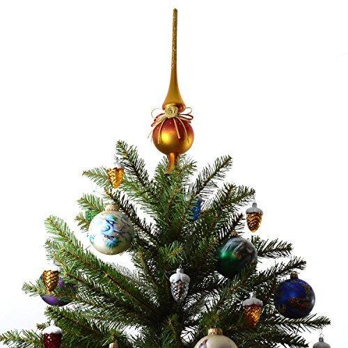Rojo /Árbol de Navidad con Estrella /Árbol de Navidad de Cristal aut/éntico para Navidad com-four/® Christmas Tree Top Glossy 29 cm