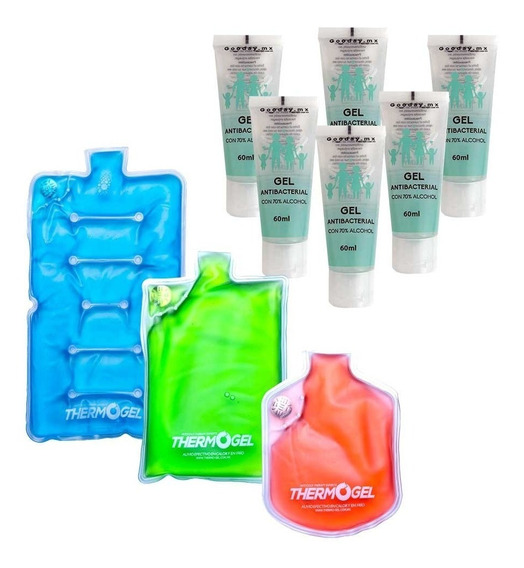 Paquete Compresas Thermogel + Gel Antibacterial 70% Alcohol