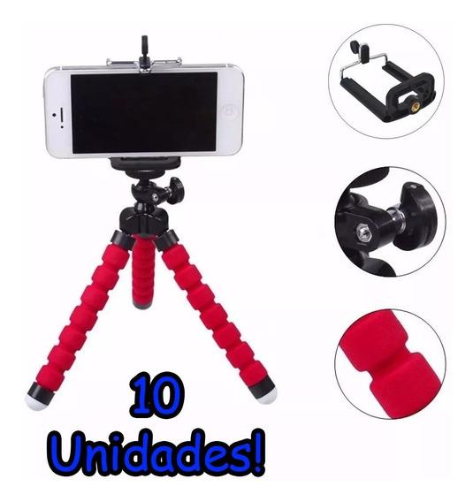 Kit 10 Unidades Mini Tripé Flexível Câmera E Celular Atacado