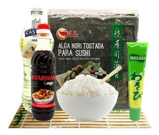 Sushi Kit! Arroz + Algas + Wasabi + Soja + Vinagre Y Mas!