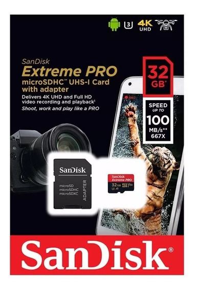 Cartão Micro Sd Sandisk Extreme Pro 32gb 100mb 4k Drone
