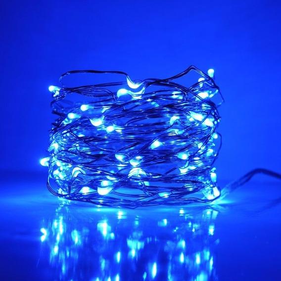 10 Fio Cobre Luz Fadas Azul 100 Leds 10m + Fonte Bivolt