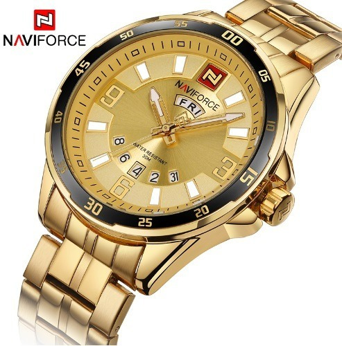 Relógio Masculino Naviforce Homens De Ouro - Frete Gratis