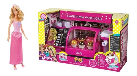 Cafeteria Fabulosa Caixa Da Barbie + Boneca Princesa Loira