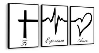 Quadro Decorativo Fé Esperança Amor Religioso Lindo