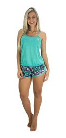 Kit 3 Pijamas Curto Adulto Feminino Blusa Regata E Short
