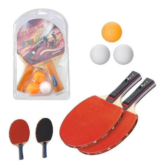 Kit Ping Pong Tênis De Mesa C/ 2 Raquete + 3 Bolinhas Combo