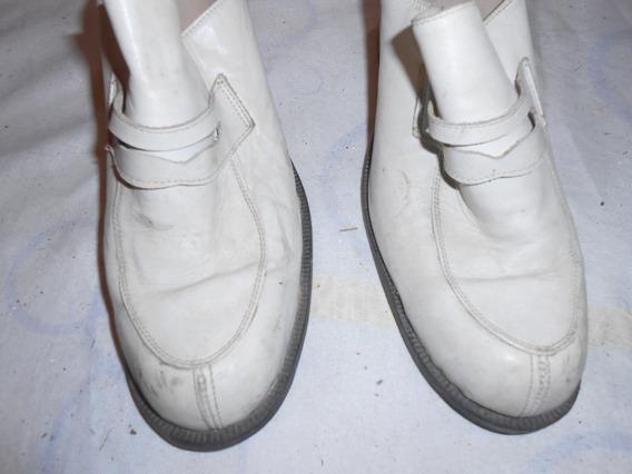 Zapatos Mocasines Cremitas Con Taco Divinos !!