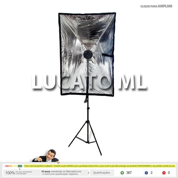 Luz Contínua 4xe27 + Softbox 80x120 + Tripé Retrátil 2m Np