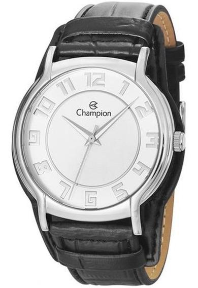 Relógio Champion Masculino Couro Preto Com Garantia E Nfe