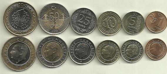 Serie De 6 Monedas De Turquia Año 2009, 2 Bimetalicas