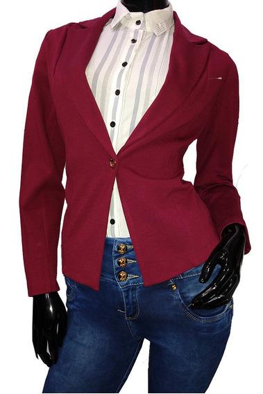 Saco Blazer Con Boton Dama Mujer Formal Casual