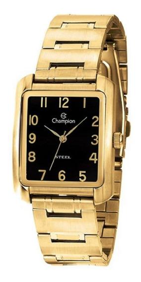 Relógio Champion Fem Dourado Ca20661u Fundo Preto Quadrado