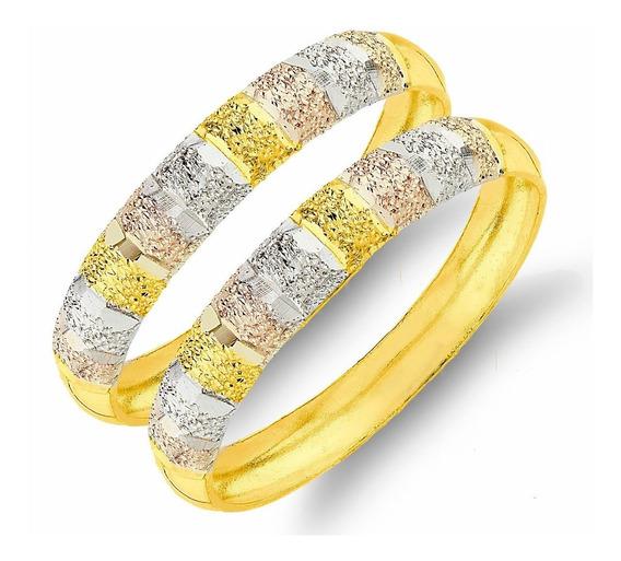 Anel De Ouro 18k Par De Aparador Amarelo Branco E Rosê