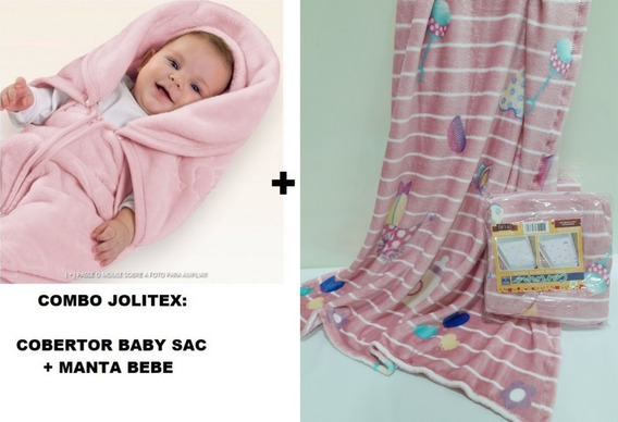 Kit Jolitex Enxoval ! Manta Bebe Menina + Cobertor Baby Sac